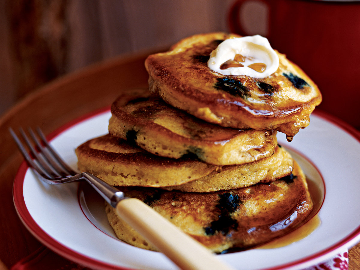 Blueberry Corn Cakes with Maple Syrup