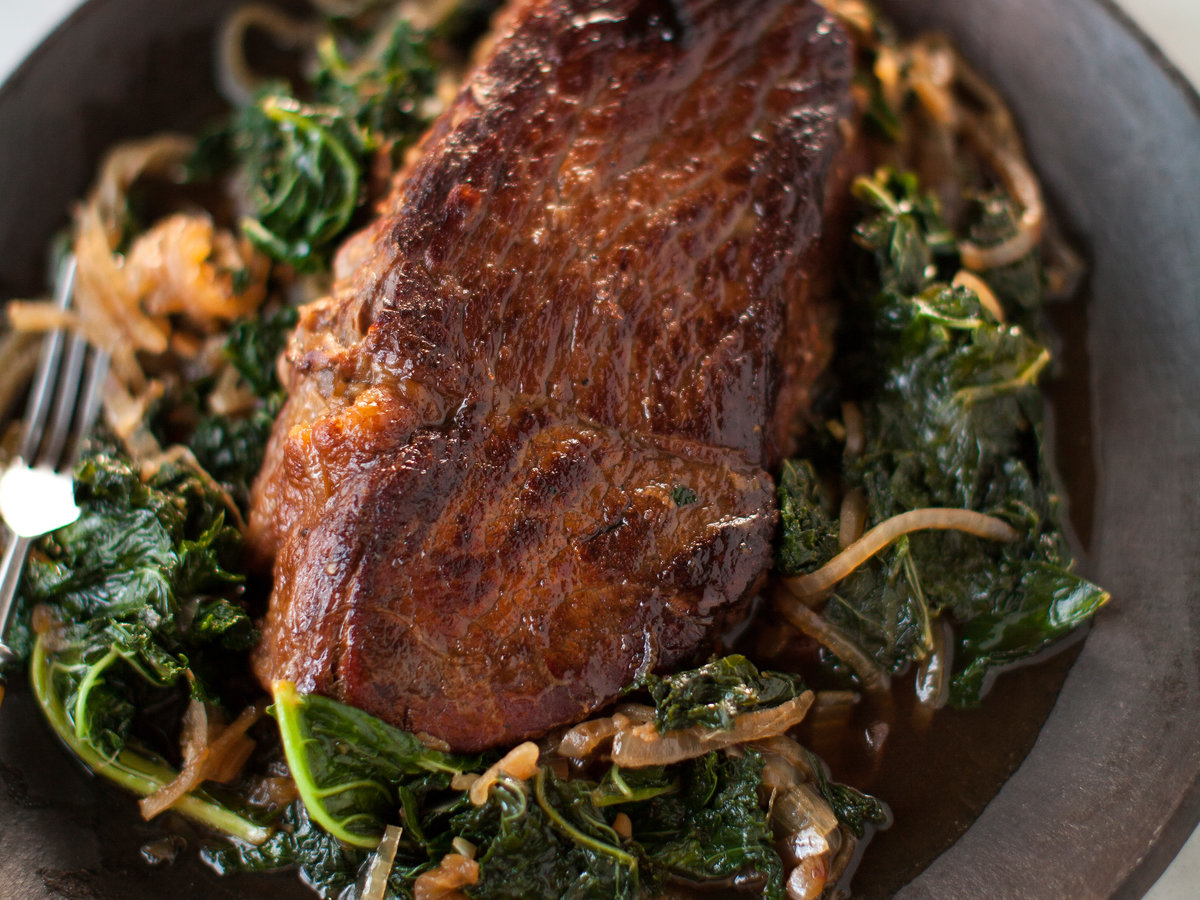 Belgian Ale-Braised Pot Roast with Melted Kale and Onions