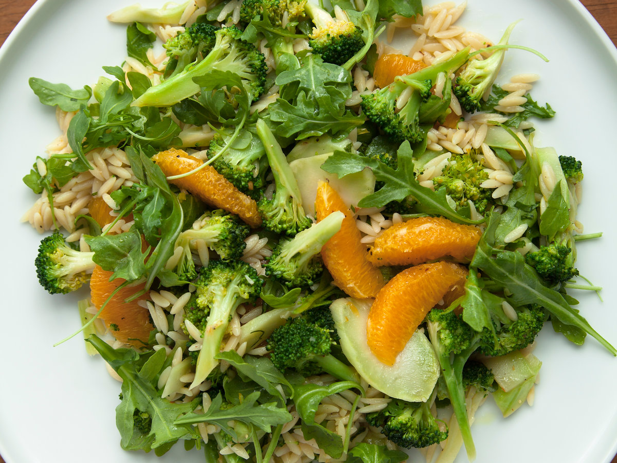Broccoli-Orzo Salad with Orange and Arugula