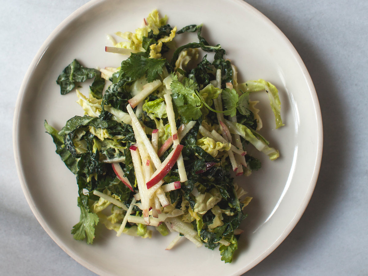 Cabbage, Kale, and Apple Slaw with Avocado-Yogurt Dressing