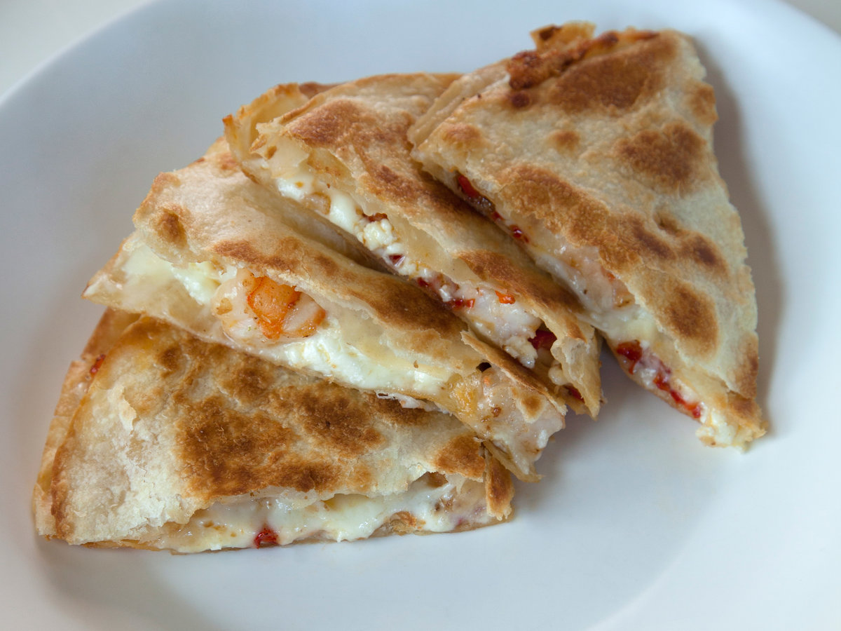 Chile Butter Shrimp Quesadillas