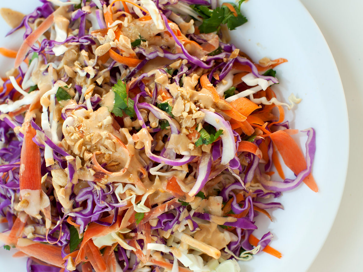 Confetti Cabbage Slaw with Peanut-Lime Dressing