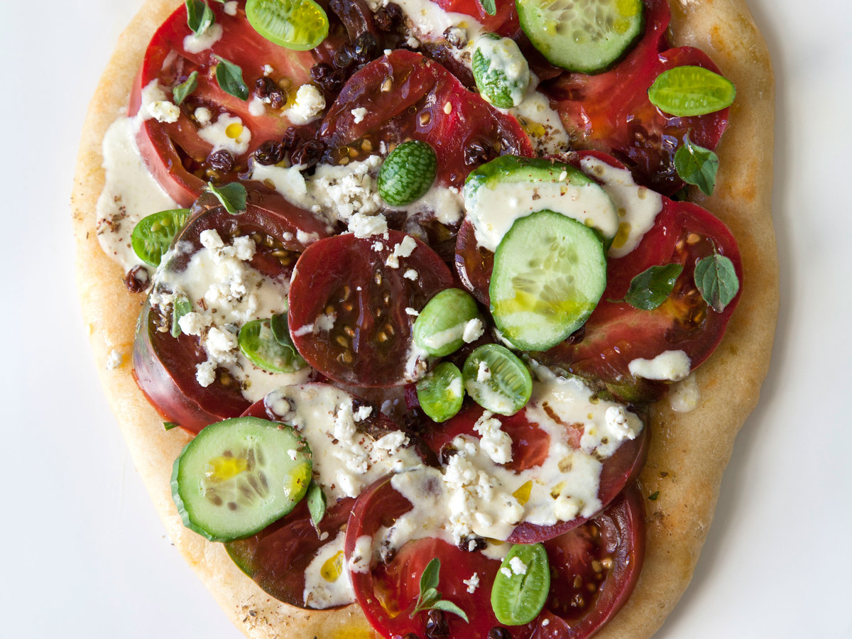 Heirloom Tomato Salad Flatbreads with Pepperoncini-Tahini Dressing