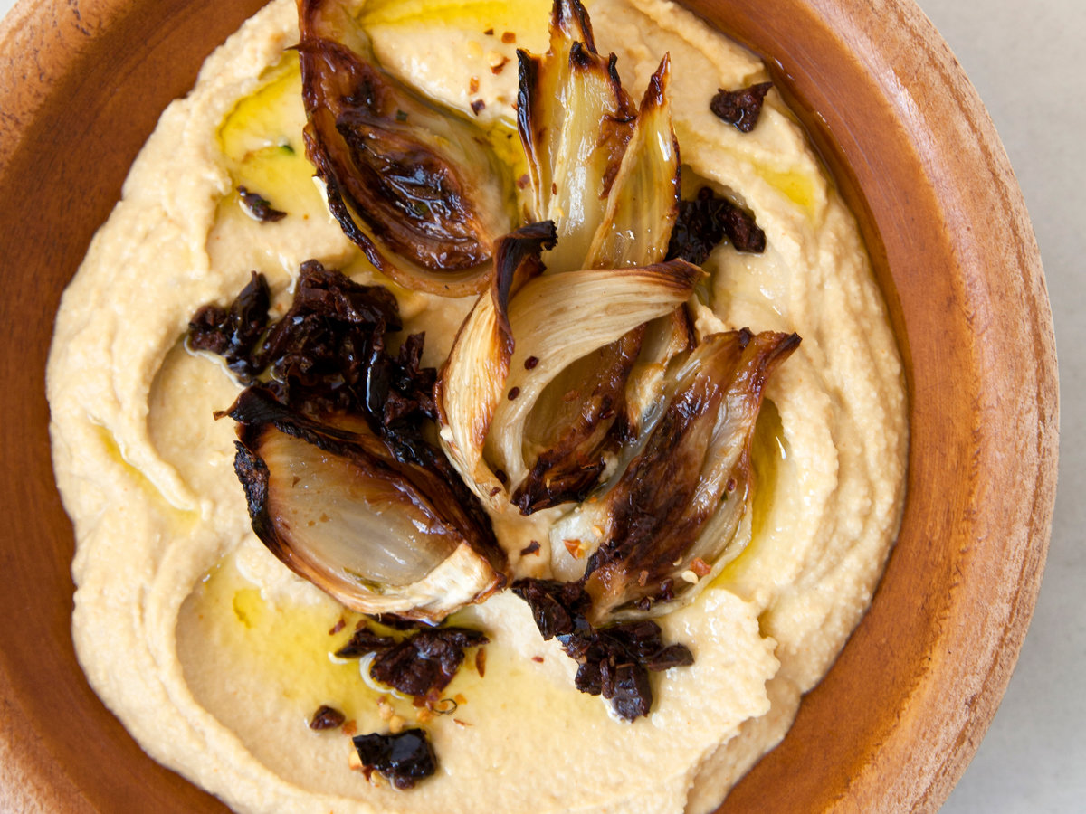 Lemony Hummus with Roasted Fennel and Black Olives
