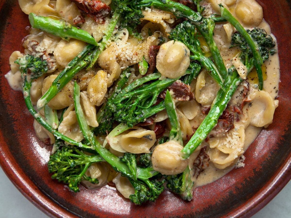 Orecchiette with Broccolini, Sun-Dried Tomatoes, and Gorgonzola Sauce