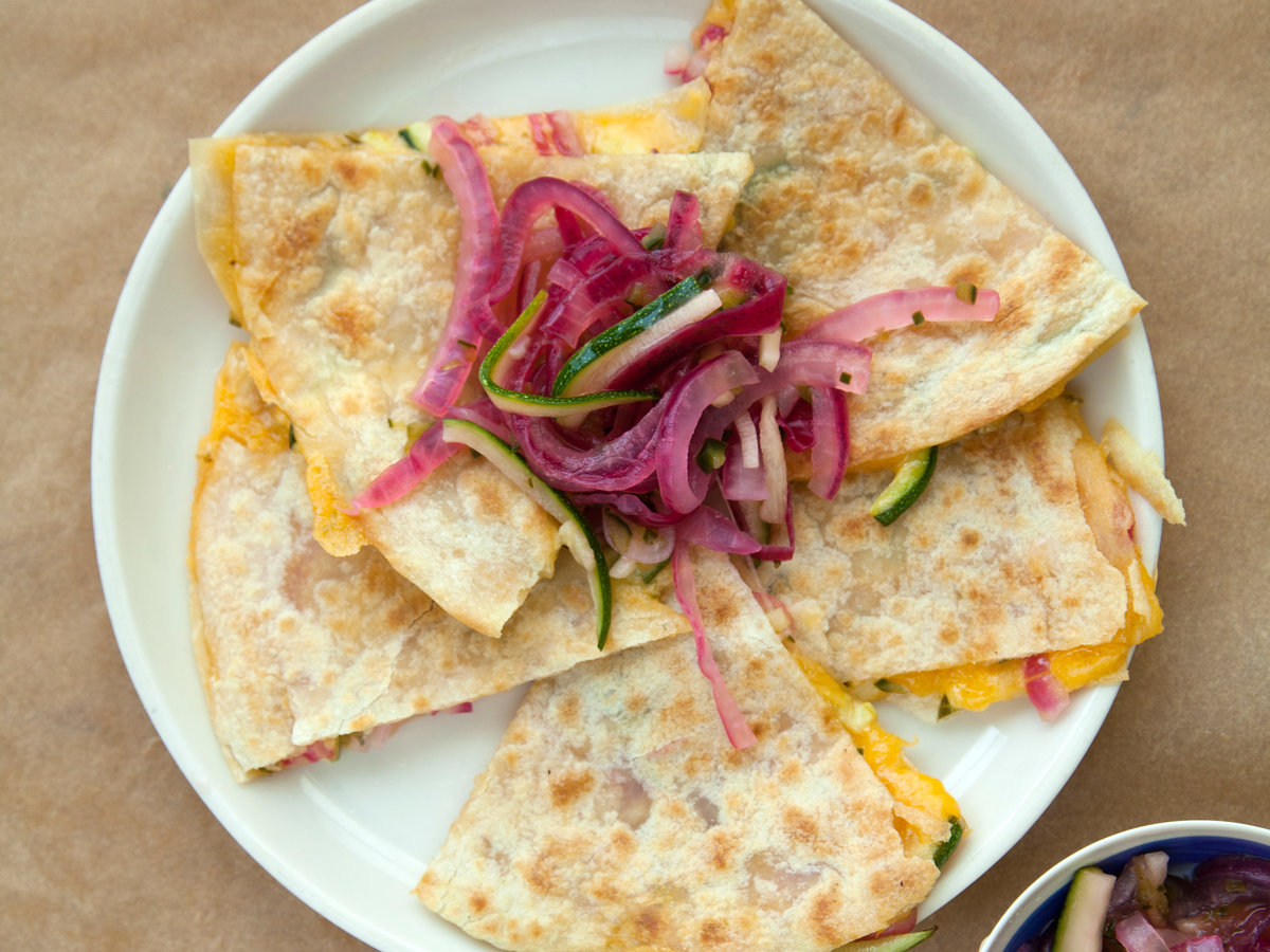 Quick-Pickled Zucchini and Red Onion Salsa Quesadillas