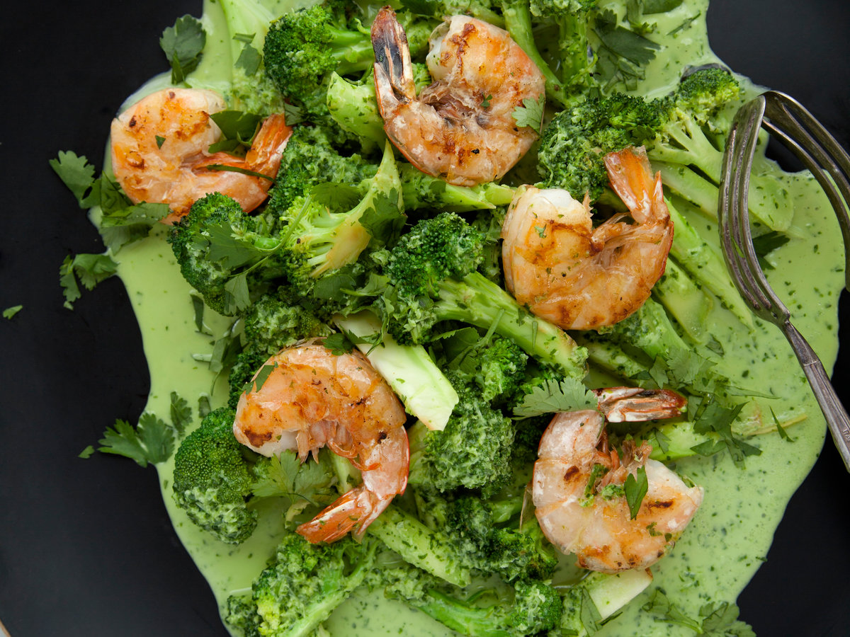 Shrimp and Broccoli in a Spicy Cilantro-Coconut Sauce
