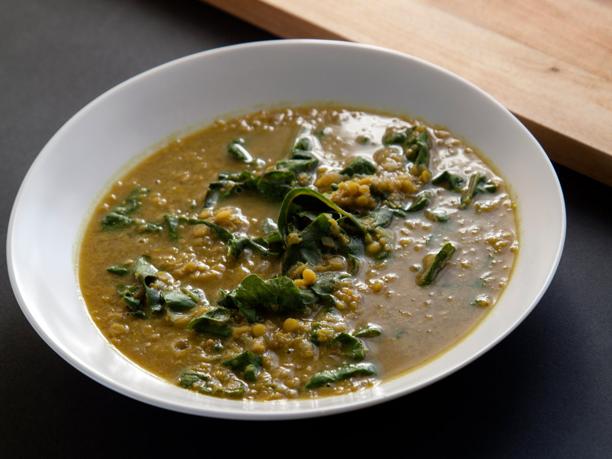 Slow Cooker Indian-Spiced Red Lentil Soup with Swiss Chard