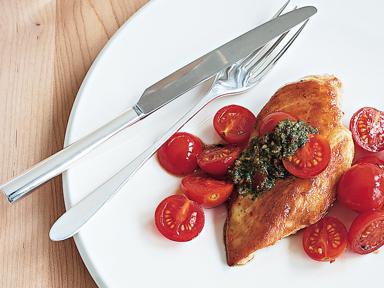 Chicken with Cherry Tomato Pesto Sauce