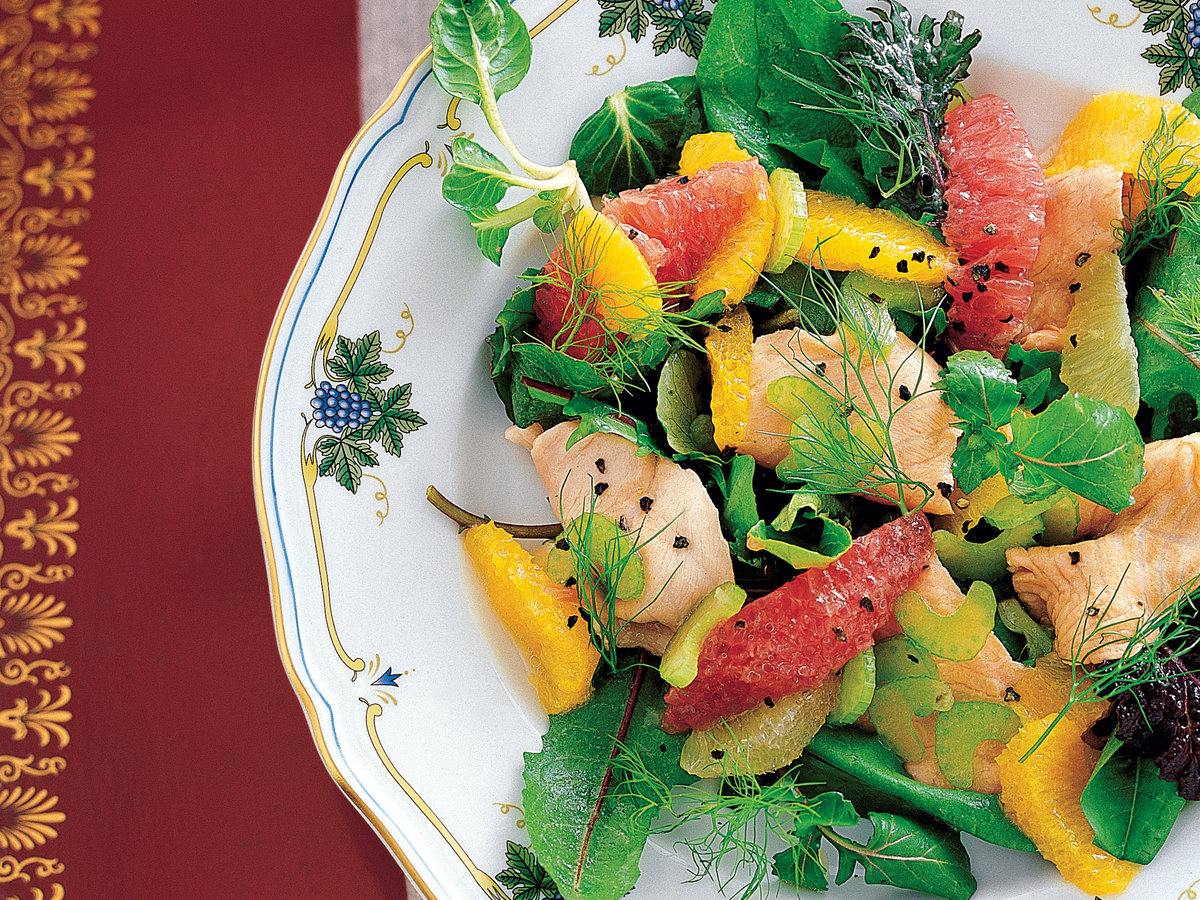 Citrus and Mesclun Salad with Marinated Trout