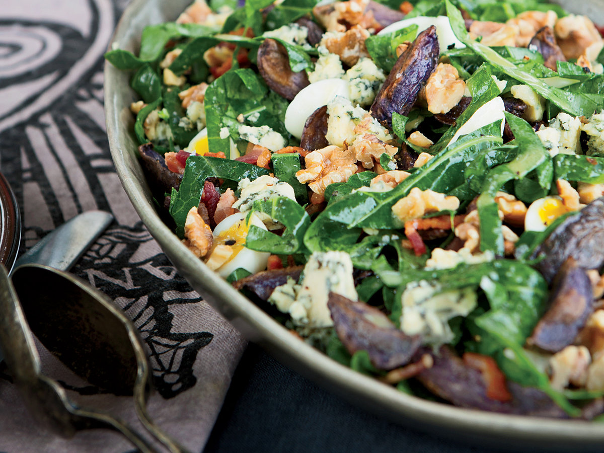 Collard Greens, Blue Potato and Bacon Salad