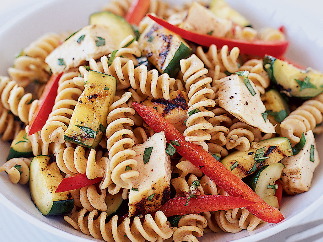 Fusilli Salad with Grilled Chicken and Zucchini