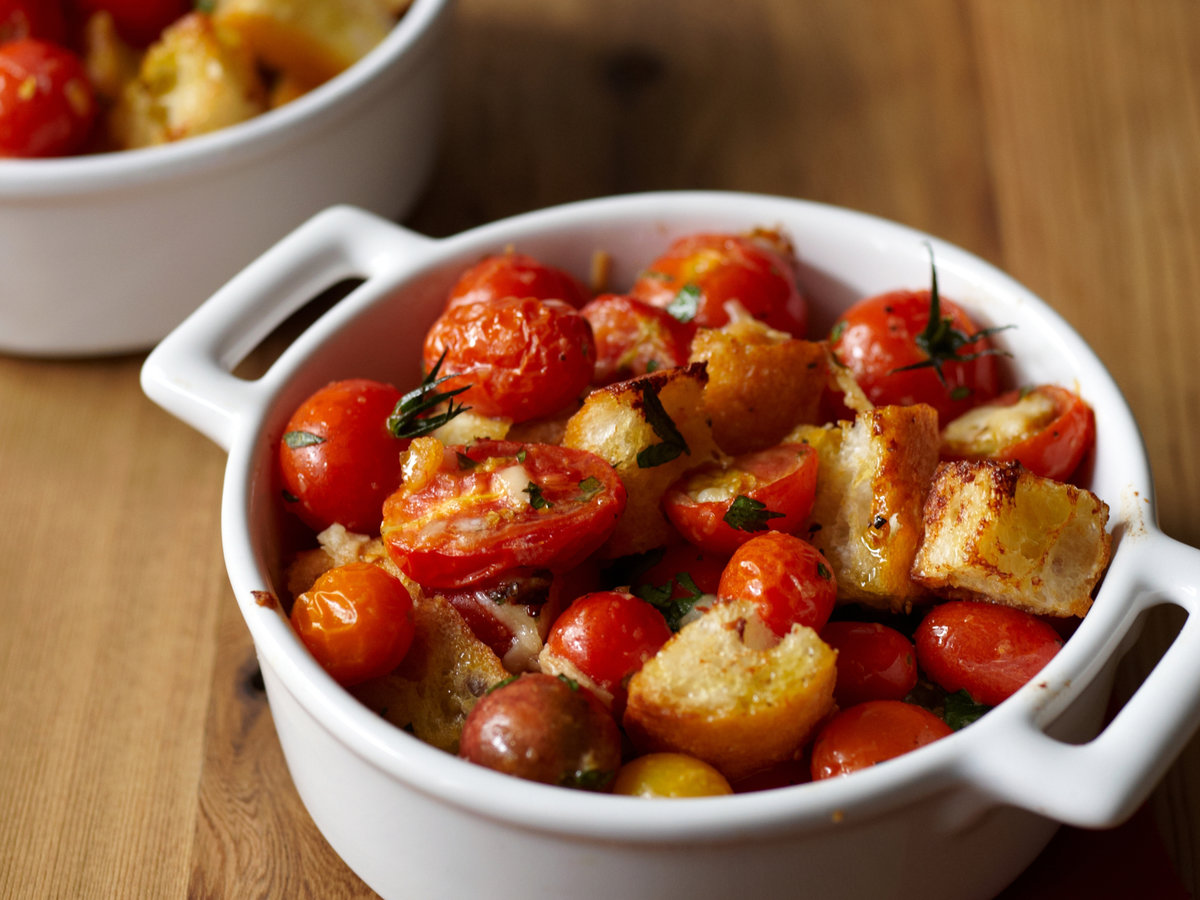 Garlicky Cherry Tomato and Bread Gratin