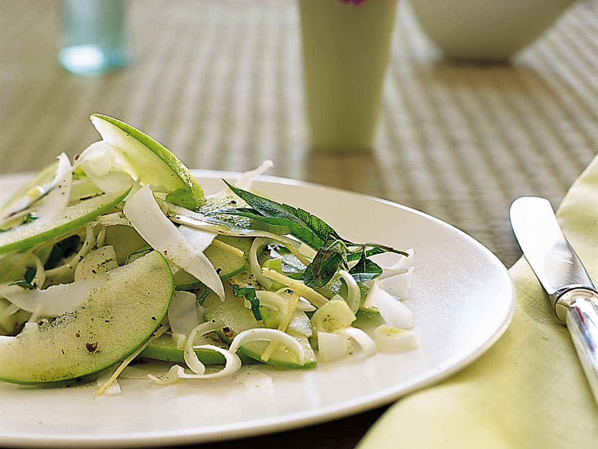Ginger, Green Apple, Sweet Onion and Coconut Salad
