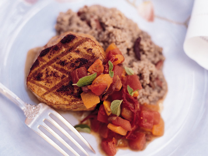 Glazed Grilled Tuna with Sweet Bell Pepper Ragout