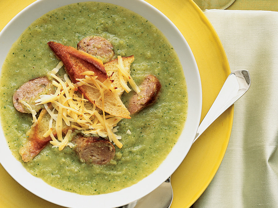 Hearty Fennel Soup with Sausage and Gouda Croutons