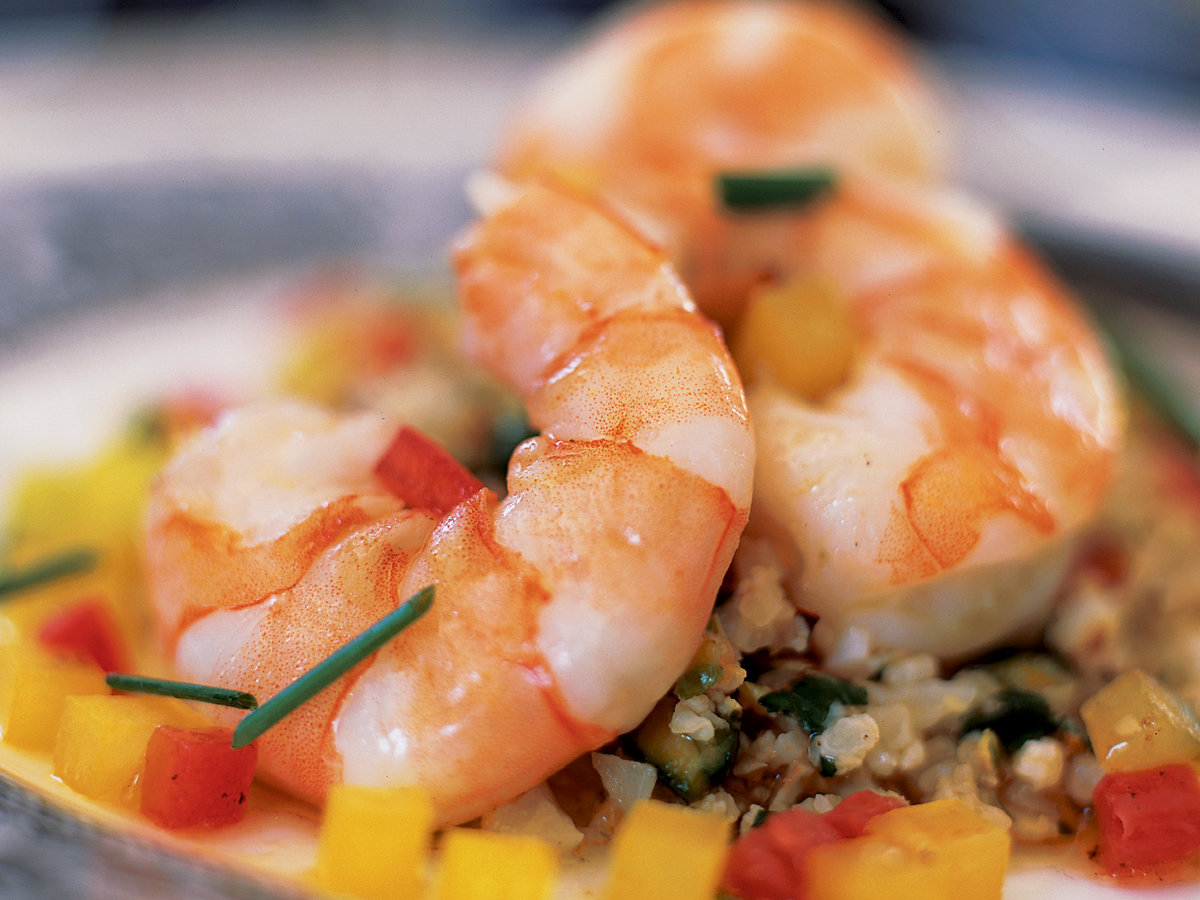 Herb-Poached Shrimp with Cauliflower Couscous and Brown Butter