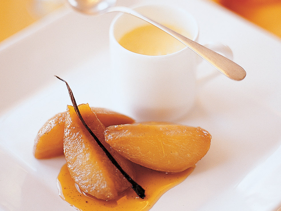 Honey-Caramelized Pears with Orange-Vanilla Flan