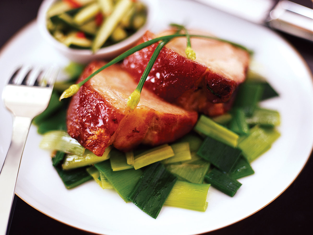 Honey-Glazed Pork Shoulder with Braised Leeks