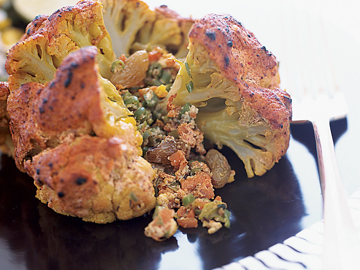 Indian-Spiced Stuffed Cauliflower