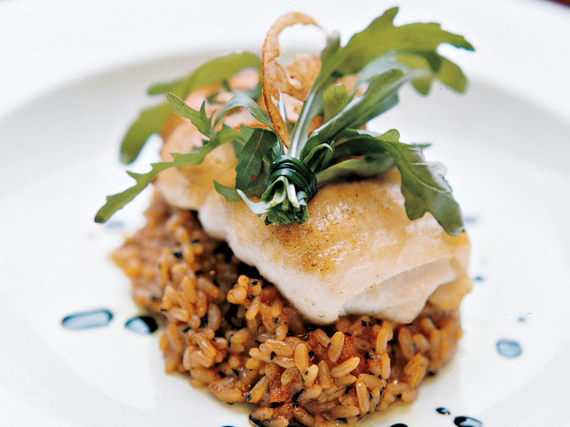 Lemon Sole with Tomato-Olive Risotto