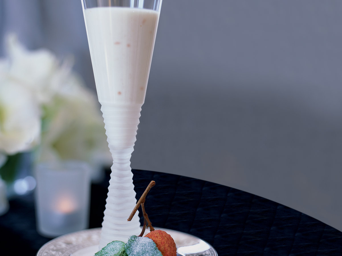 Lychee Panna Cotta with Sugared Basil Leaves