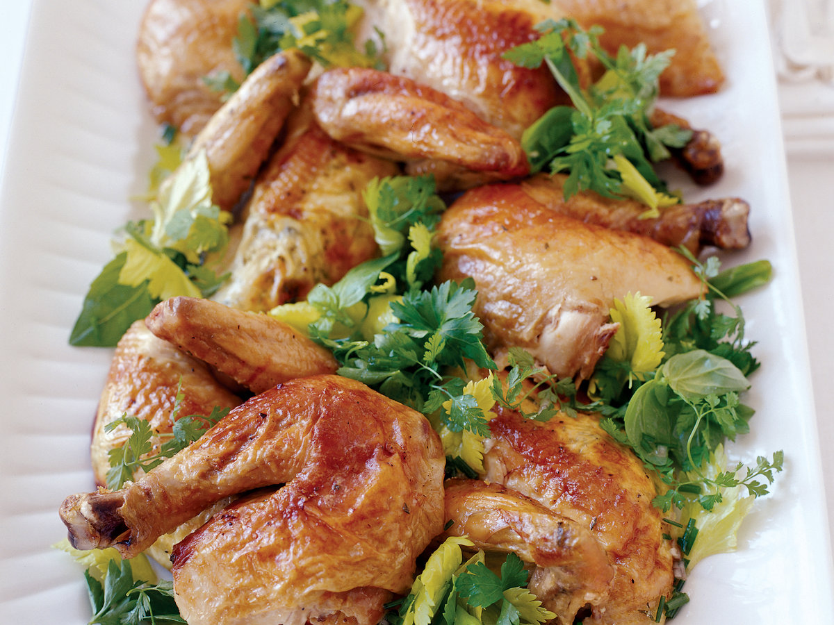 Mascarpone-Stuffed Roast Chicken with Spring Herb Salad