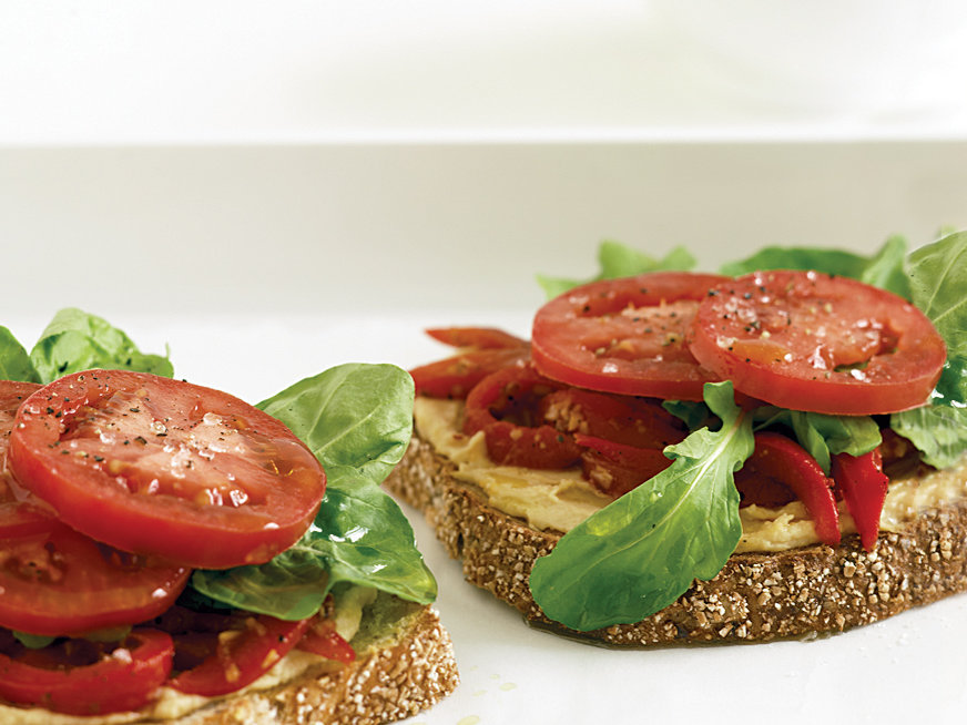 Open-Faced Roasted Pepper and Hummus Sandwiches