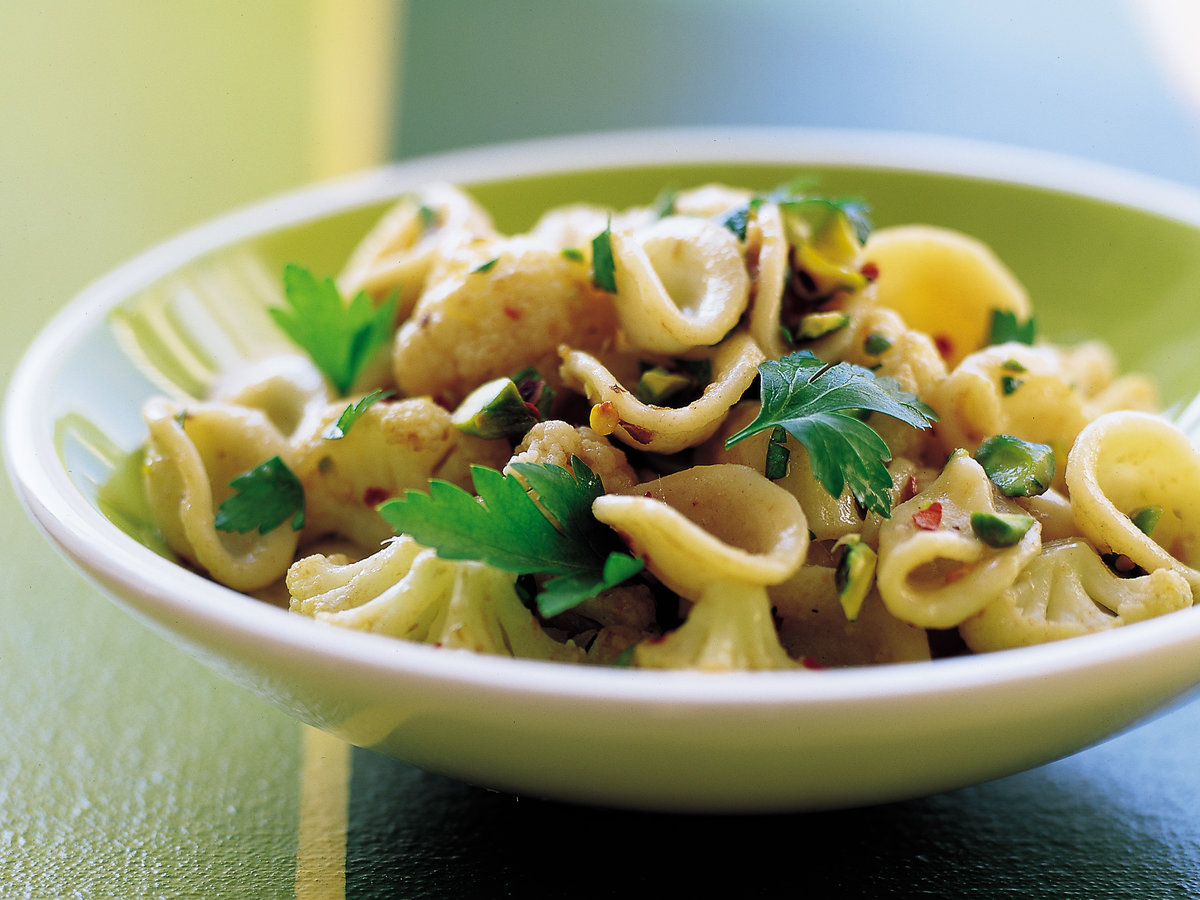 Orecchiette with Cauliflower, Anchovies and Pistachios
