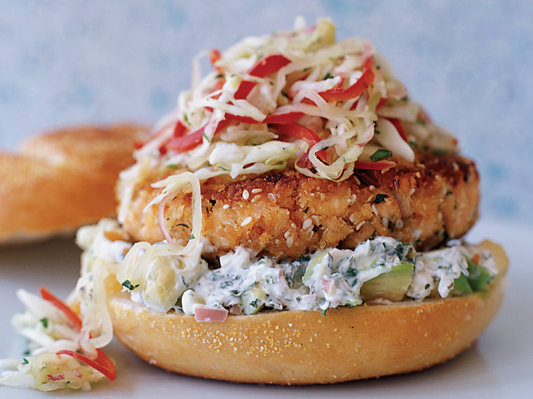 Pan-Fried Salmon Burgers with Cabbage Slaw and Avocado Aioli