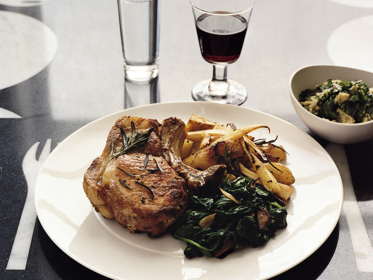 Pork Chops With Roasted Parsnips, Pears And Potatoes