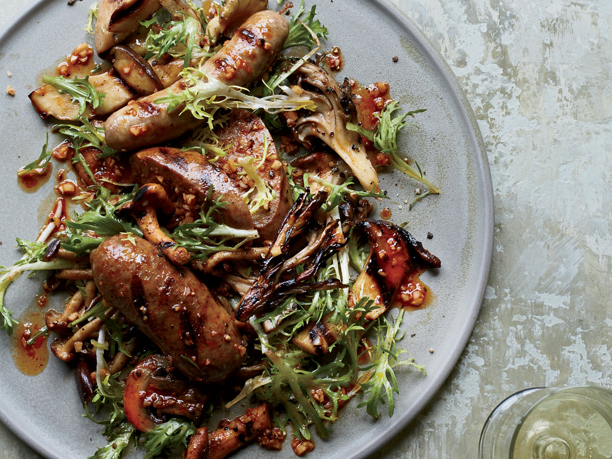 Grilled Mushrooms and Sausages with Pimenton Vinaigrette
