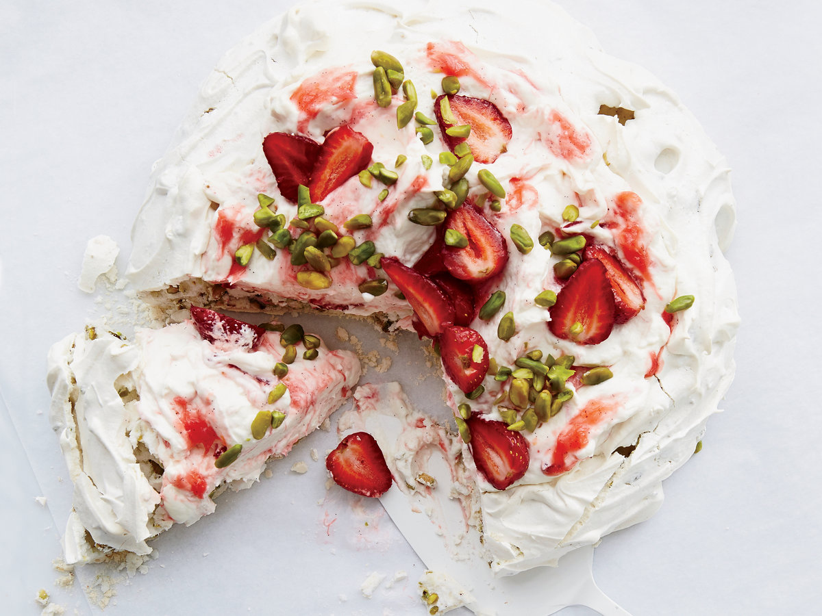 Pistachio Pavlova with Rhubarb Cream