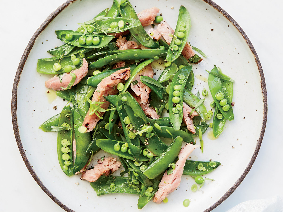 Snap Peas with Ham and Tarragon