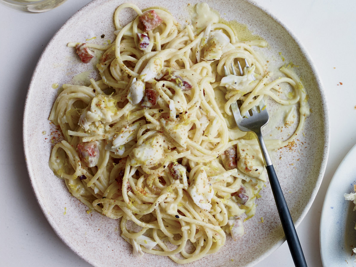 Spaghetti with Corn Carbonara and Crab