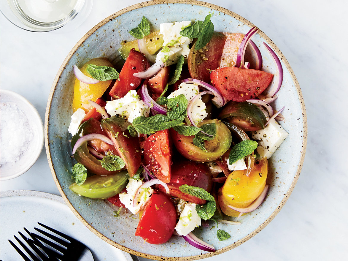 Tomato-Feta Salad with Lime and Mint Recipe | Food & Wine ...