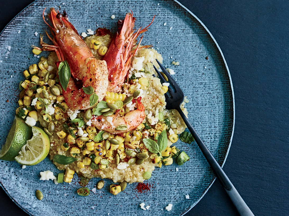White Quinoa Grits with Shrimp and Mexican Grilled Corn