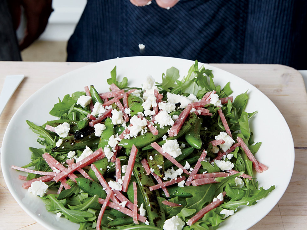 Blistered Snap Peas with Salami and Feta