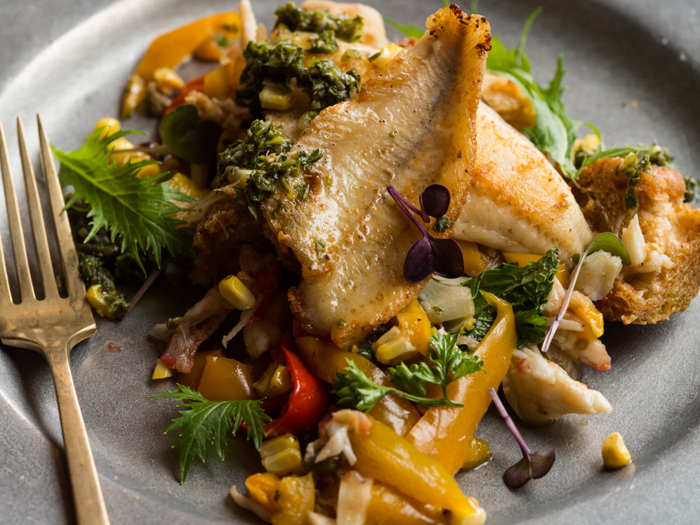 Pan-seared Pickerel on Mixed Vegetable-and-Crab Panzanella