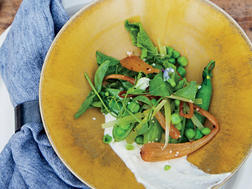 Peas with Ricotta and Spring Onion Kimchi