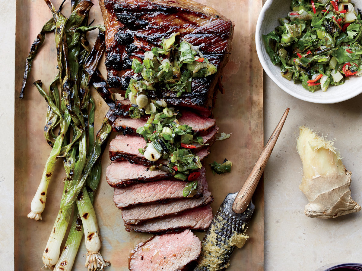 Tri-Tip Steak with Grilled Scallion, Ginger and Cilantro ...