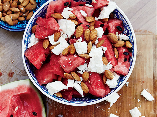 Watermelon,Feta and Almond Salad