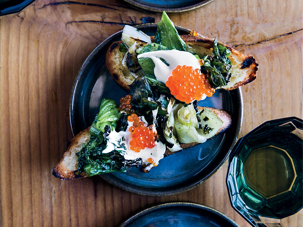 Grilled Escarole Toasts with Trout Roe