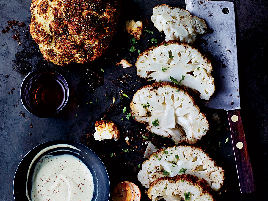 Roasted Cauliflower with Tahini Sauce
