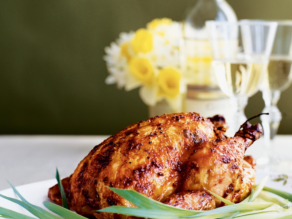 Roast Chickens with Black Pepper-Maple Glaze