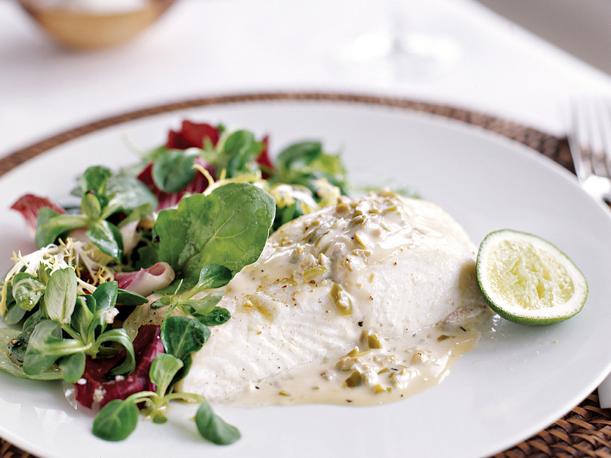 Halibut with Green Olive Sauce