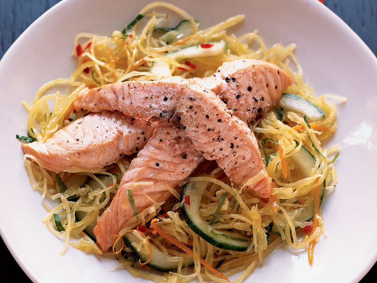 Roasted salmon with spaghetti squash salad recipe marcia for Hot n hot fish club