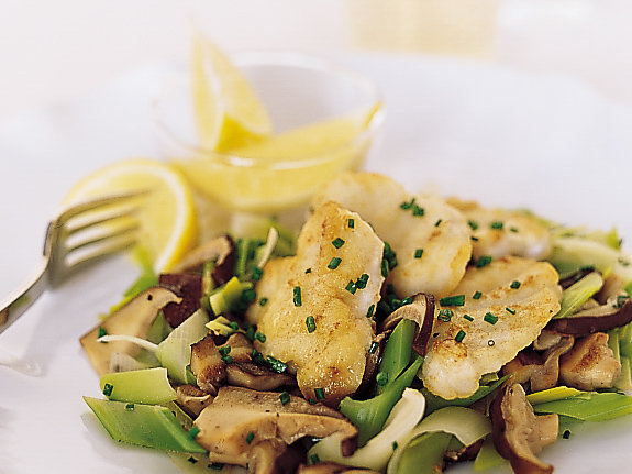 Sautéed Monkfish with Leeks and Shiitakes