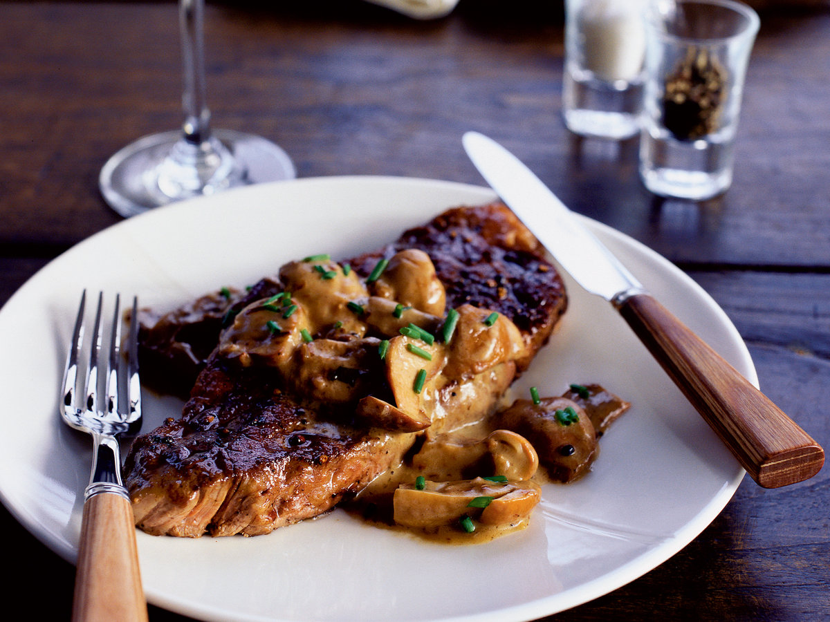 Seared Steaks with Porcini Mushroom Cream Sauce