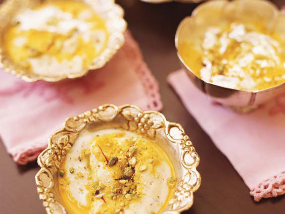 Semolina Pudding with Saffron and Nuts